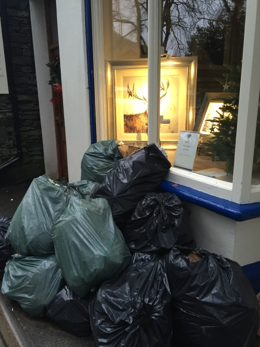 Bin bags piled up